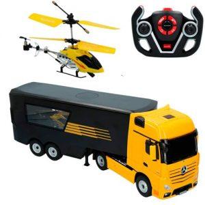 camion radiocontrol y helicoptero teledirigido
